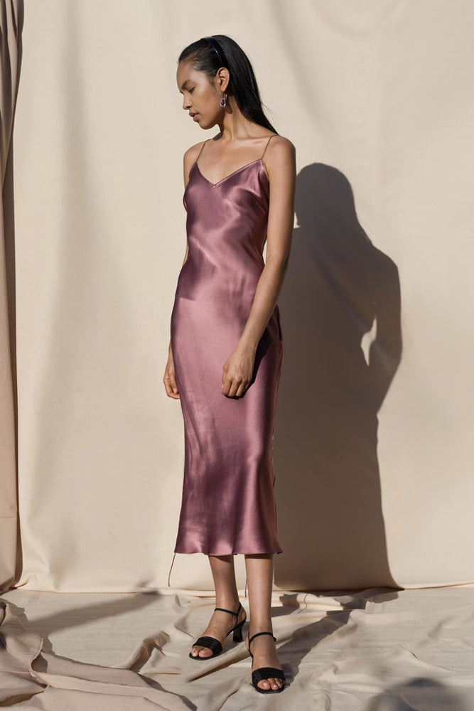 Load image into Gallery viewer, Pari Desai Sandoval Silk Slip Dress Mauve