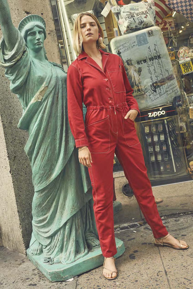 Rachel Antonoff Stephen Boiler Suit Cherry Red