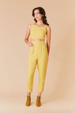 Samantha Pleet Shield High Waisted Pants Sunflower Yellow