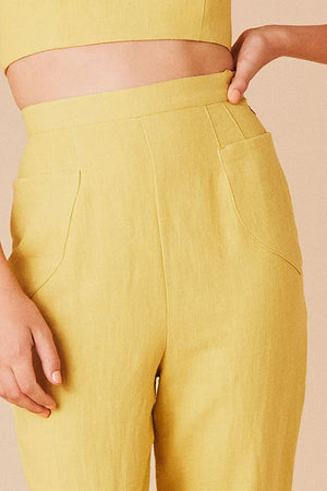 Load image into Gallery viewer, Samantha Pleet Shield High Waisted Pants Sunflower Yellow