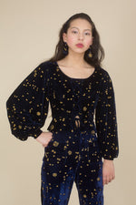 Samantha Pleet Starry Night Velvet Embroidered Blouse