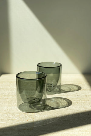 Load image into Gallery viewer, Double Walled Glasses Set Grey