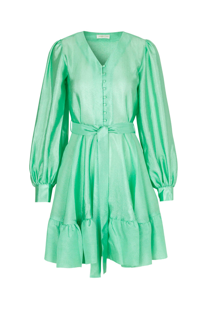 Stine Goya Farrow Satin Mini Dress Jade Green