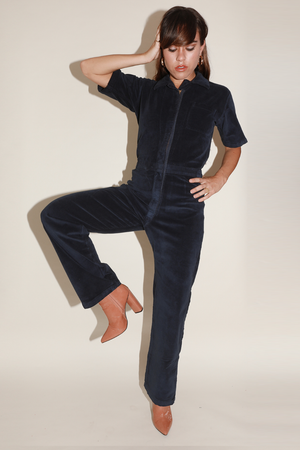 Load image into Gallery viewer, Sugarhigh Lovestoned Stretch Corduroy Coveralls Navy