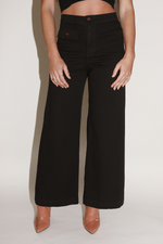 Sugarhigh Lovestoned Woody Wide Leg Pants Black Twill