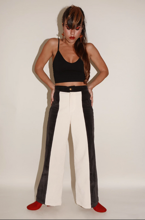 Sugarhigh Lovestoned Woody Wide Leg Pants Cream & Black Paneled Corduroy