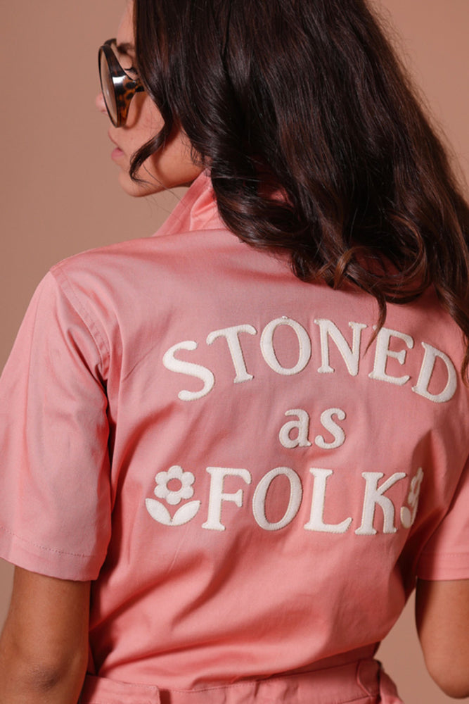 Load image into Gallery viewer, Sugarhigh Lovestoned Stoned As Folk Romper Peach