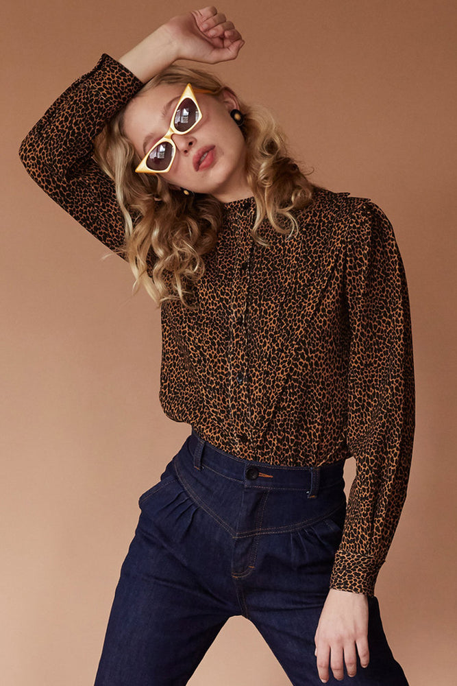 Load image into Gallery viewer, Sugarhigh Lovestoned Tears For Fears Blouse Leopard