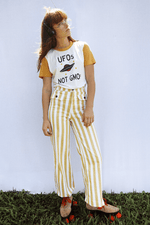 Sugarhigh Lovestoned Woody Wide Leg Pants Mustard Yellow Stripe