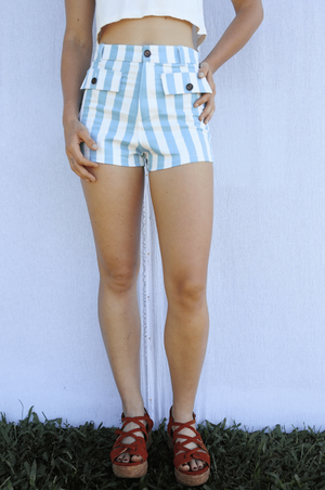 Sugarhigh Lovestoned Woody High Waisted Shorts Blue Stripe