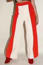 Sugarhigh Lovestoned Woody Wide Leg Pants Red & Cream Paneled Corduroy