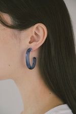 Large Glass Hoops Blue