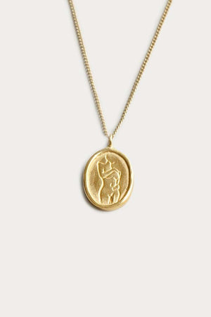 Load image into Gallery viewer, Wolf Circus Femme Pendant Necklace Gold Jewelry