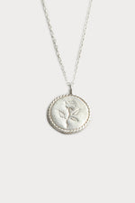 Wolf Circus Rose Coin Pendant Necklace Sterling Silver