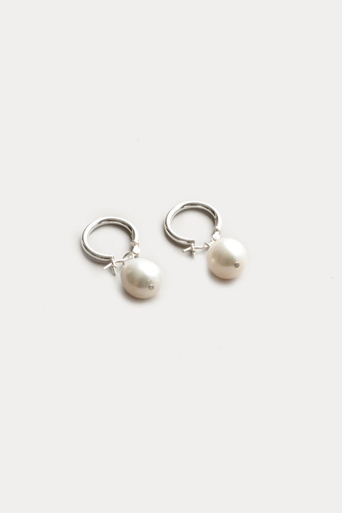 Wolf Circus Small Pearl Hoop Earrings Sterling Silver