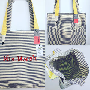 Large Teacher Tote Personalized  Pencil Strap Ticking