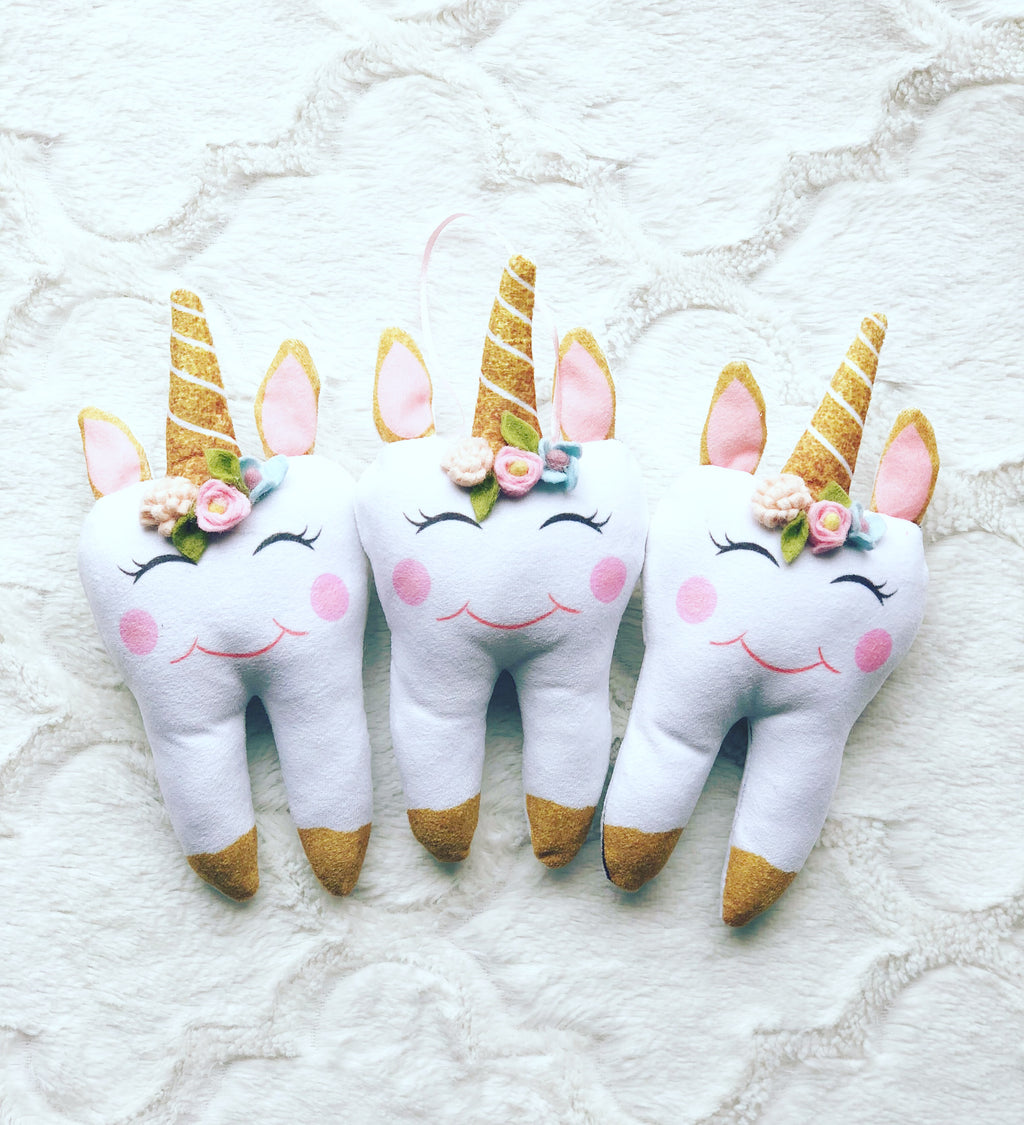 Unicorn Tooth Pillow Golden Horn Felt Flowers
