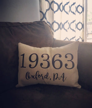 Includes Insert Home Decor, Zip Code Pillow, House Warming Gift, Wedding Gift, Farewell Gift, Christmas