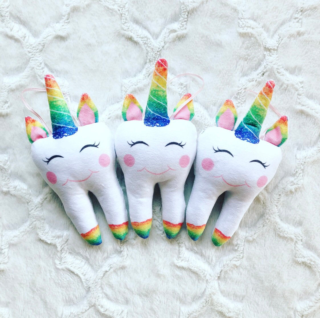 New Rainbow Unicorn Tooth Pillow Personalized