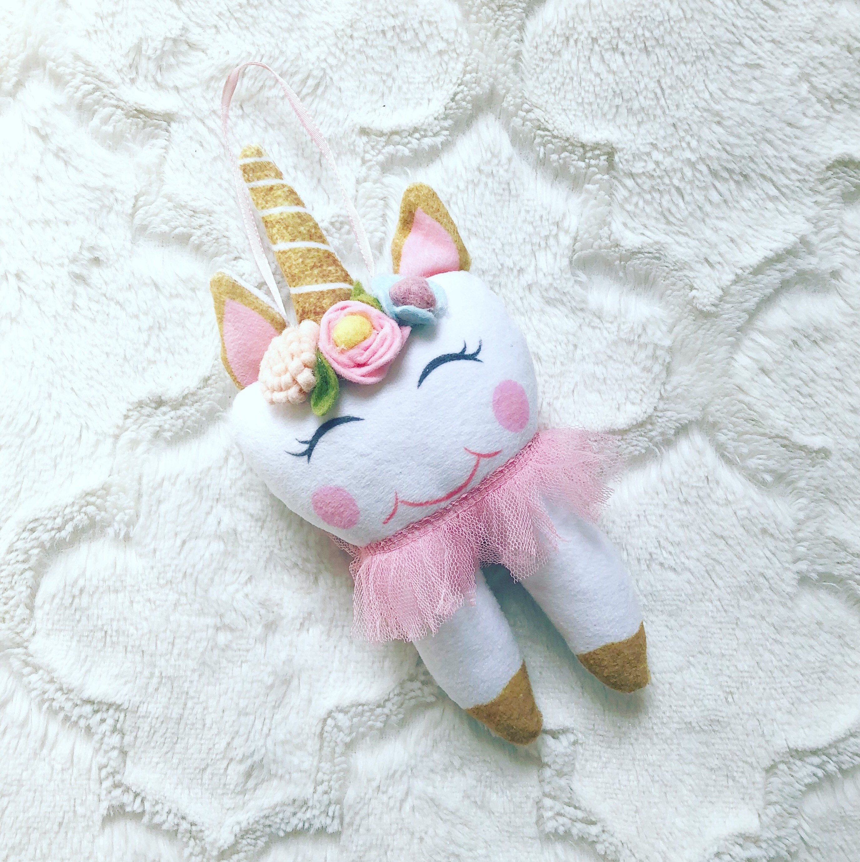Unicorn Tooth Fairy Pillow Girl, Free to Personalize, Easy to Clean, Ballerina, Pink Tutu, Ballet Dancer, Dance Mom