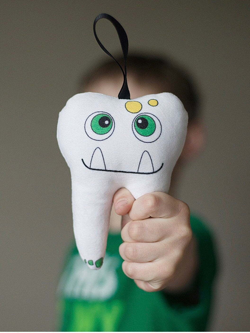Boy Tooth Pillow, Monster, Pouch in Back, Christmas Gift, Birthday Gift, Dentist Gift, Gifts Under 15, Stocking Stuffer