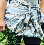 100% Durable  Floral Cotton Canvas  Garden apron, Egg gathering, Zipper, Dandelions, Gardener, Gathering apron, Harvest apron, Basket apron, vendor apron