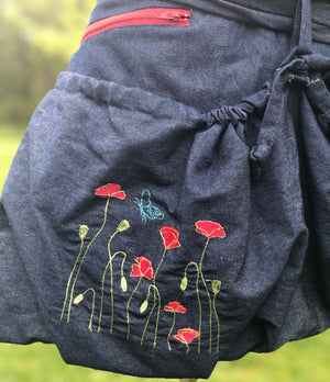 Denim, Red Poppies, Coordinating Red Zipper