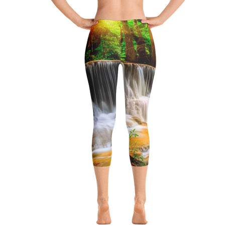 Forest Waterfall Low Waisted Capri Leggings