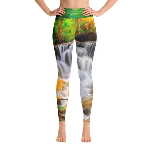 Forest Waterfall High Waisted Yoga Leggings