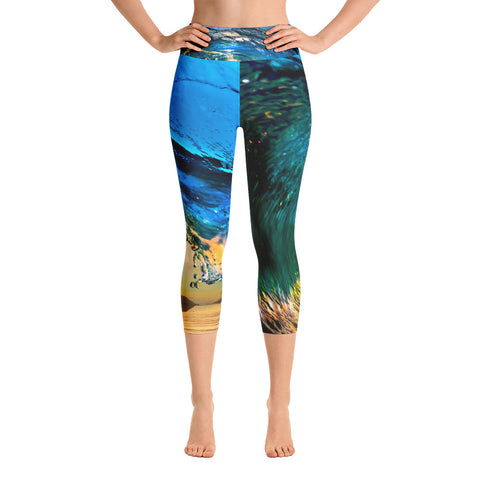 Breaking Wave High Waisted Yoga Capri Leggings