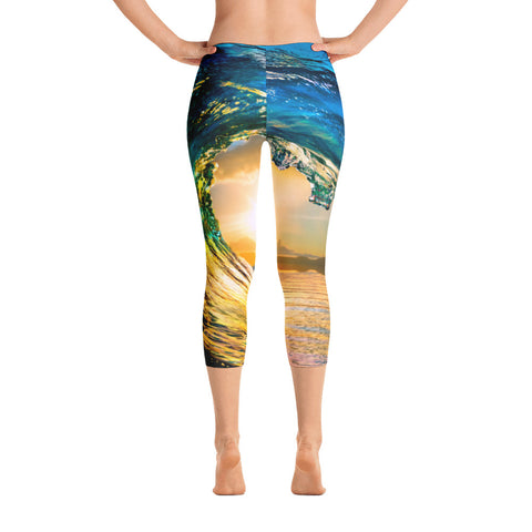 Breaking Wave Low Waisted Capri Leggings
