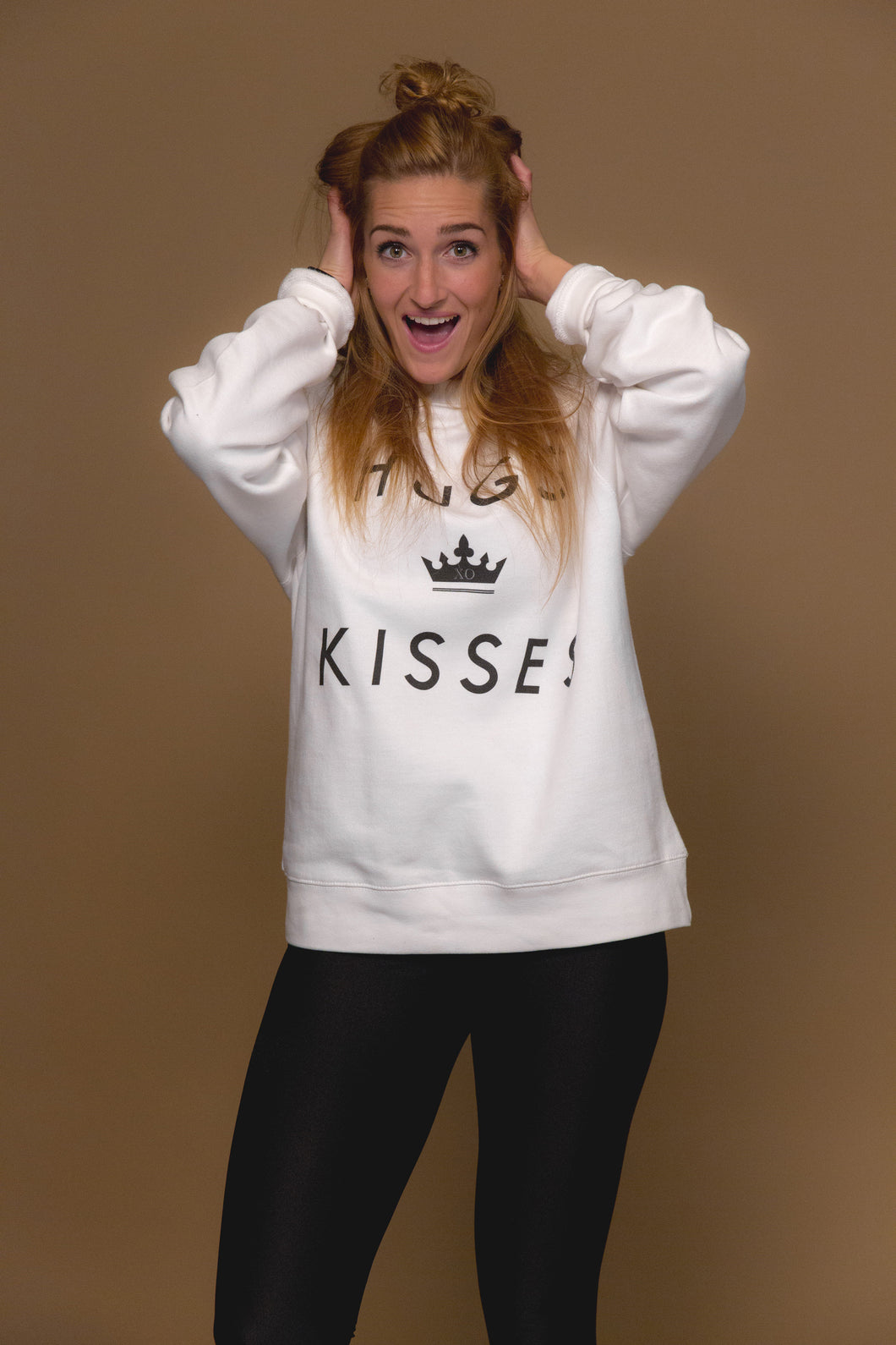 XO Hugs and Kisses Crewneck His Tee White