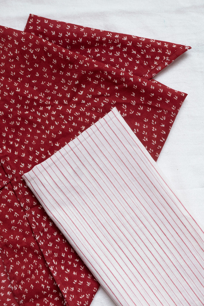 Set of Two Bandanas in Cherry Red and White Cotton