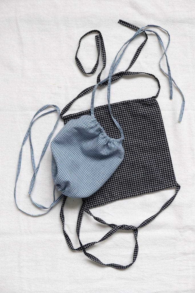 Set of Face Masks in Gingham Khadi Cotton
