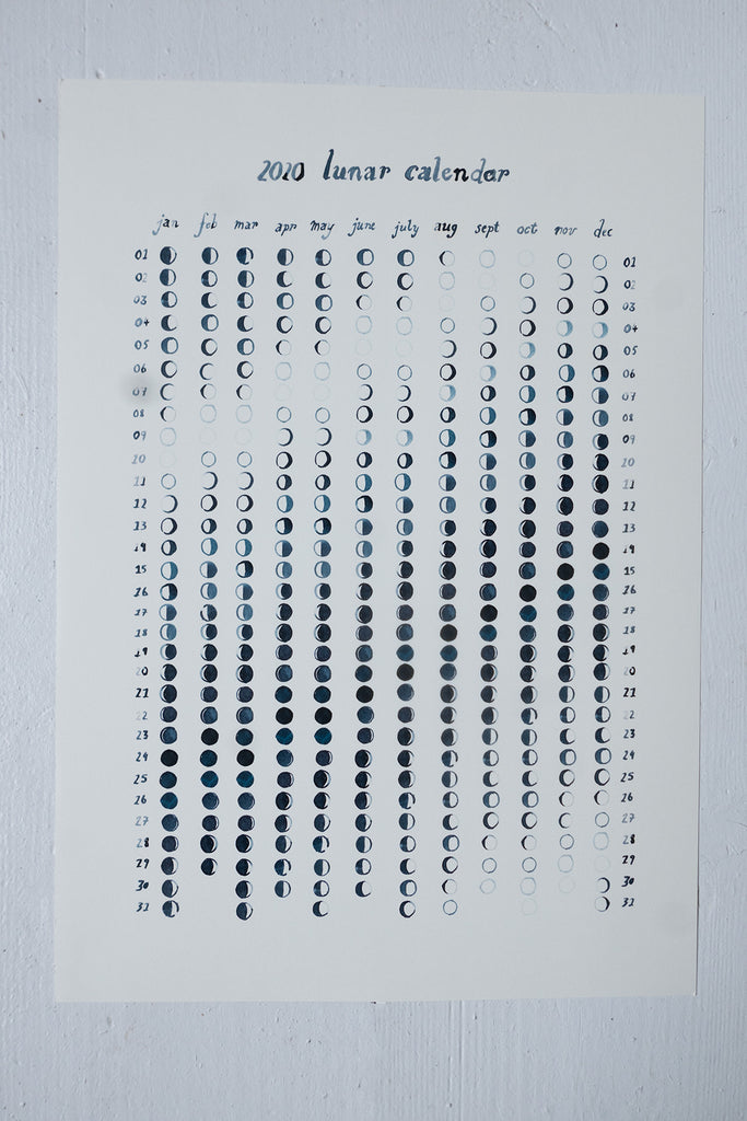 Hand-painted 2020 Lunar Phase Calendar