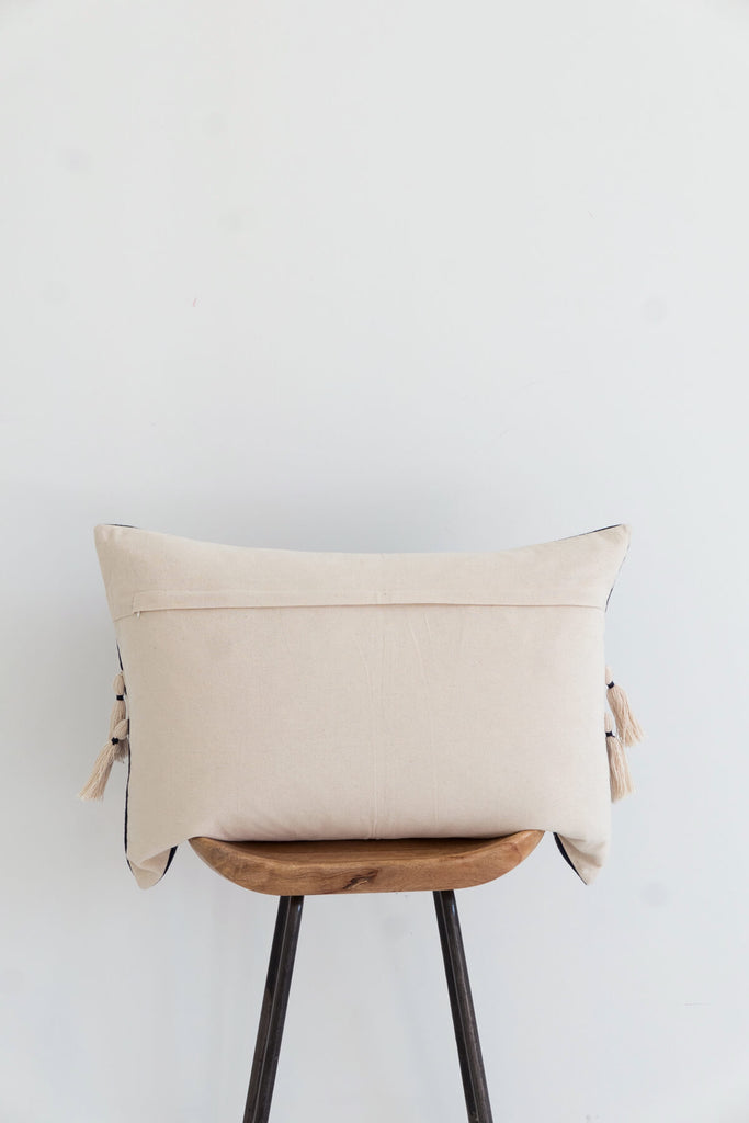 Nagaland Bolster Cushion in Midnight and Ivory
