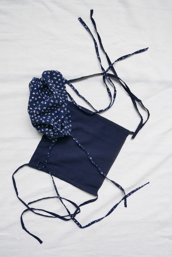 Set of Face Masks in Midnight Blue Cotton