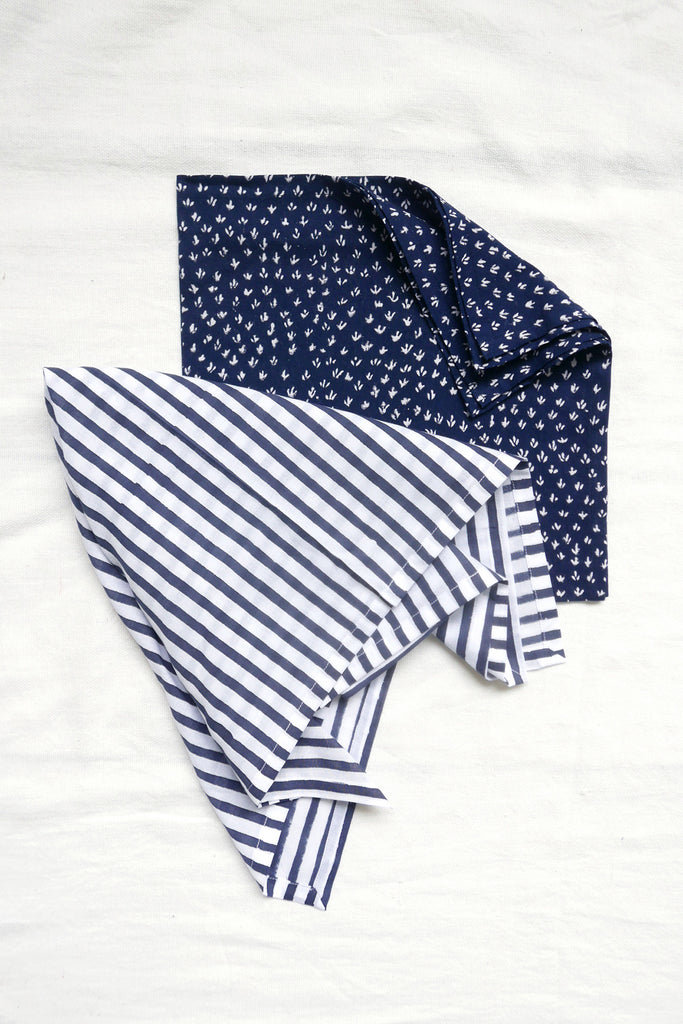 Set of Two Bandanas in Hand-Printed Cotton