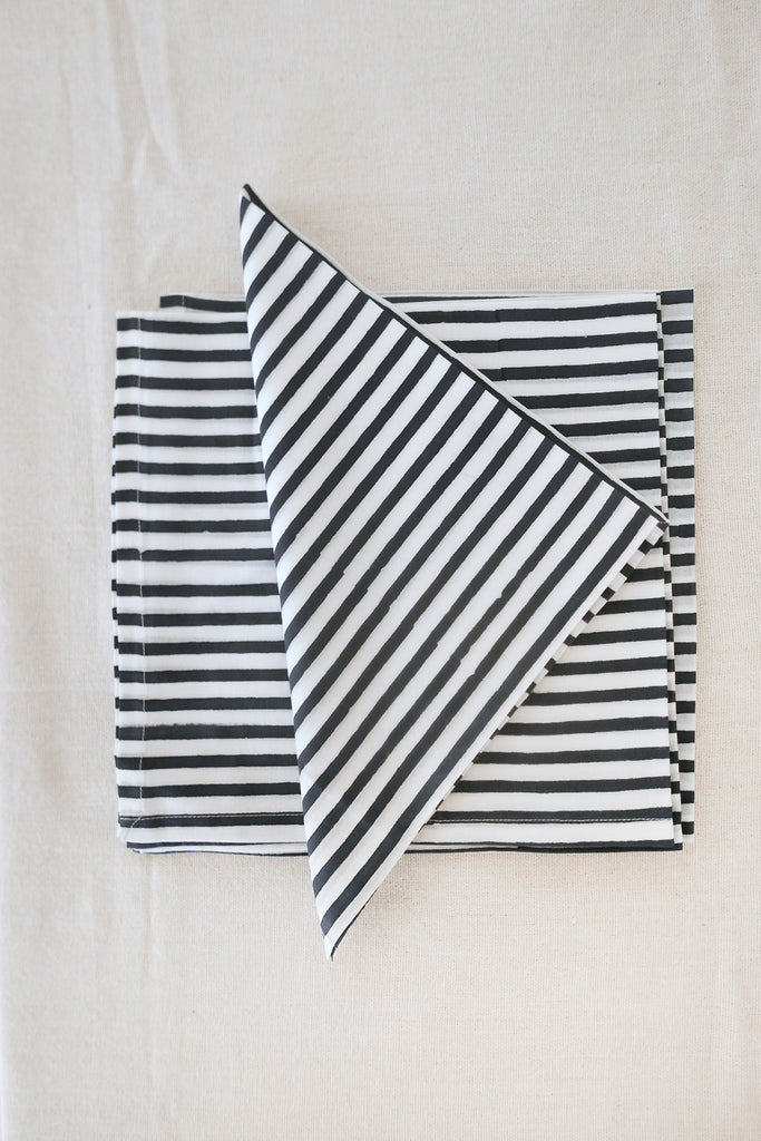 Napkins in Blue Striped Cotton - Set of Four