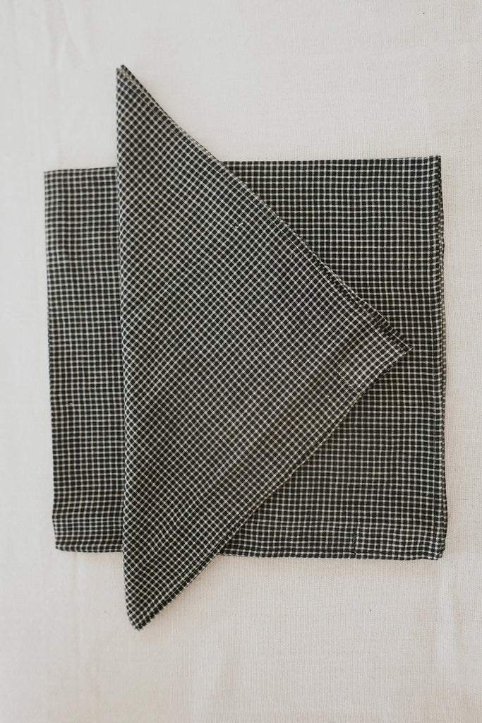 Napkins in Black Gingham Cotton - Set of Four