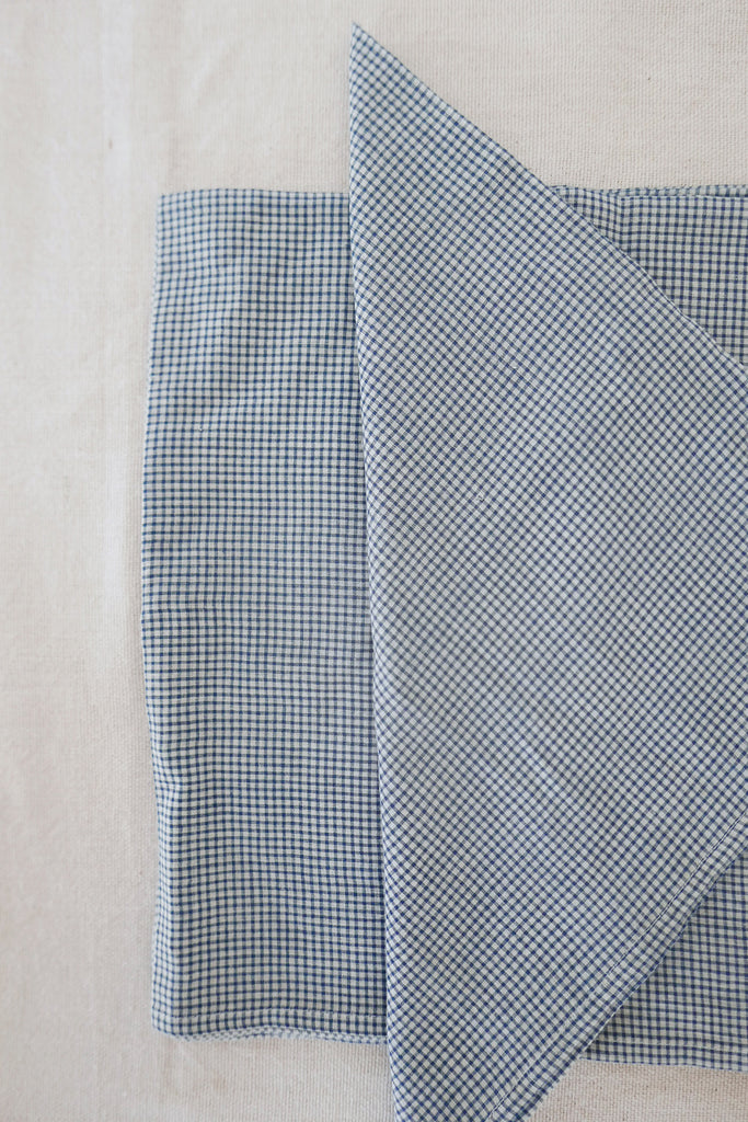 Napkins in Blue Gingham Cotton - Set of Four