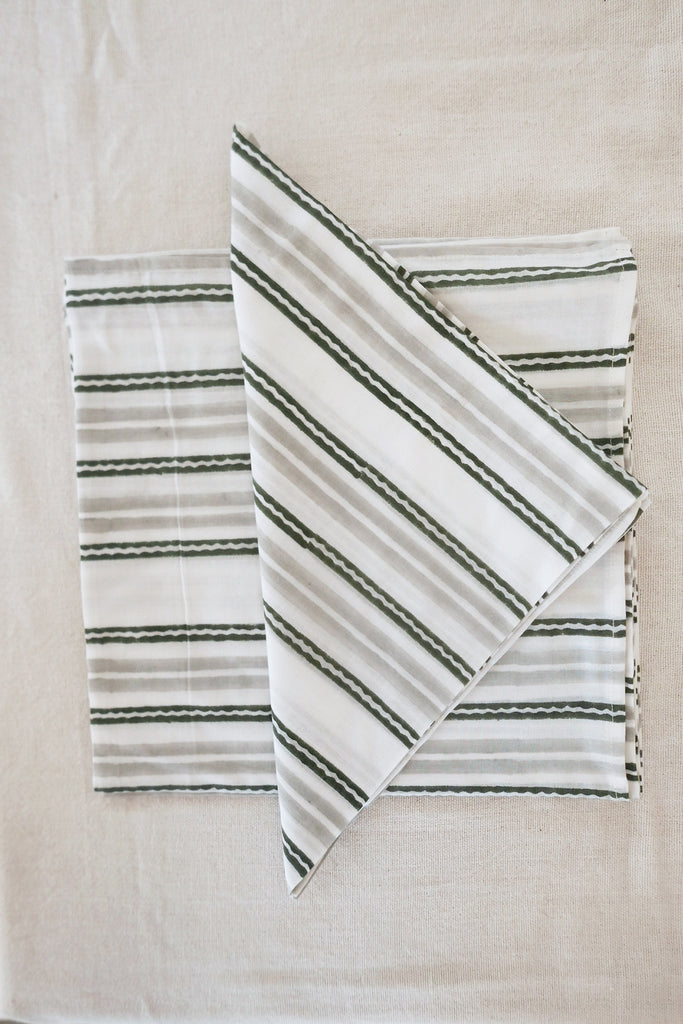 Napkins in Grey Striped Cotton - Set of Four