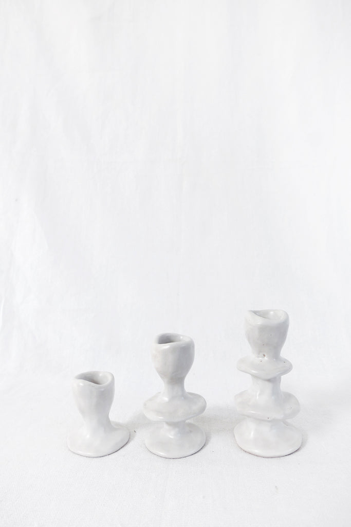 Jade Paton Candle Holders in Matte White Glaze