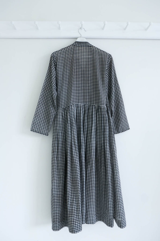Angrakha Gingham Dress in Khadi Cotton