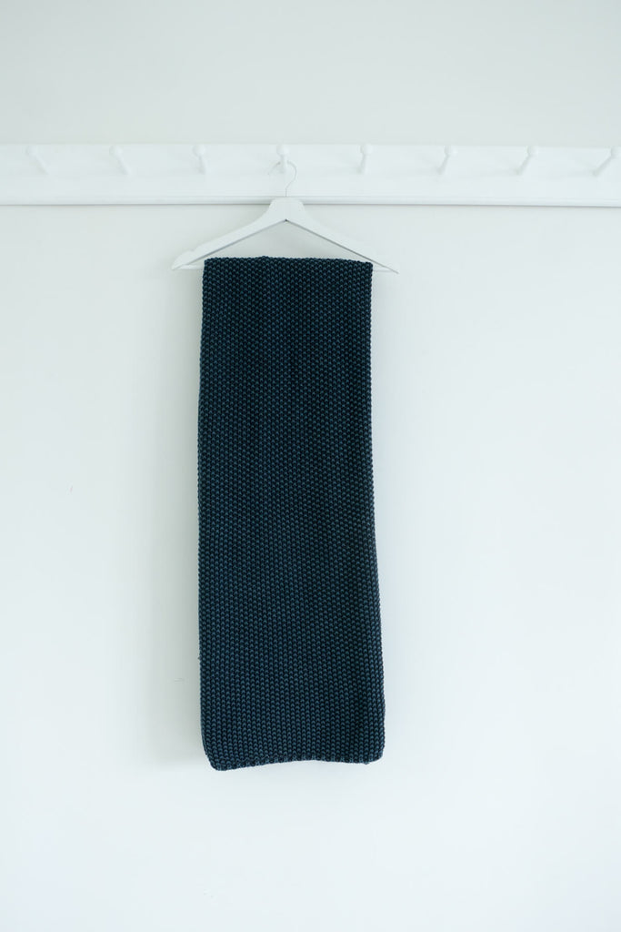 Knitted Cotton Blanket in Karu Blue