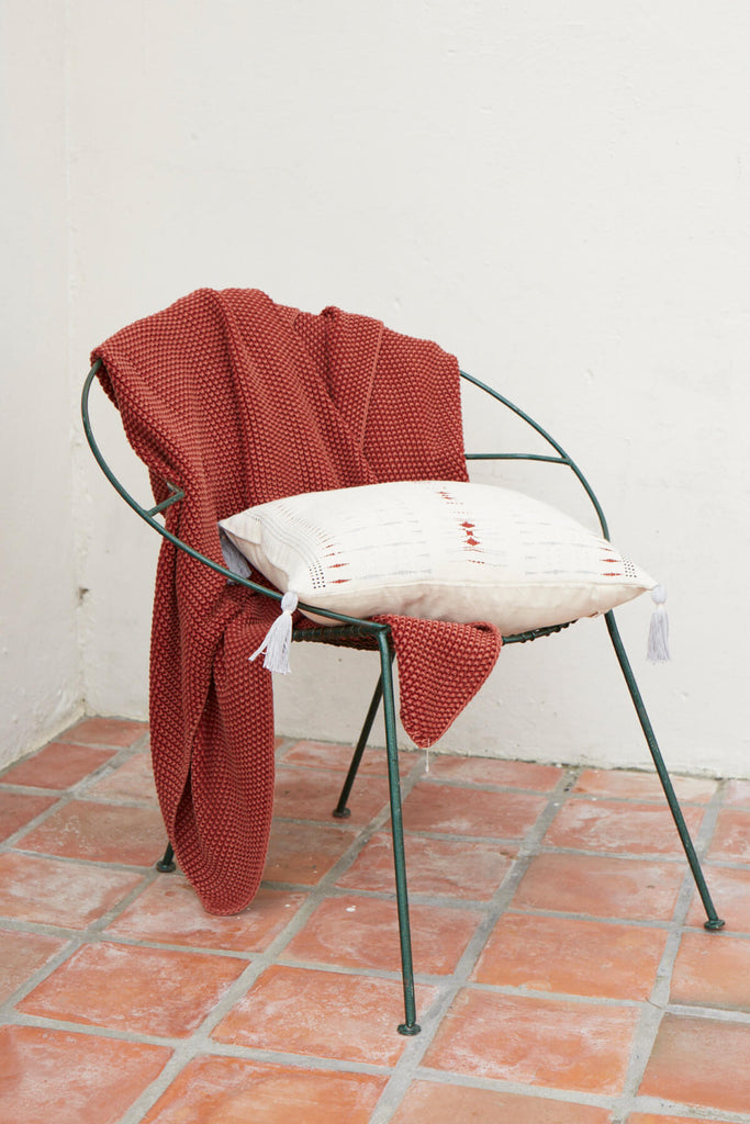 Knitted Cotton Blanket in Rust