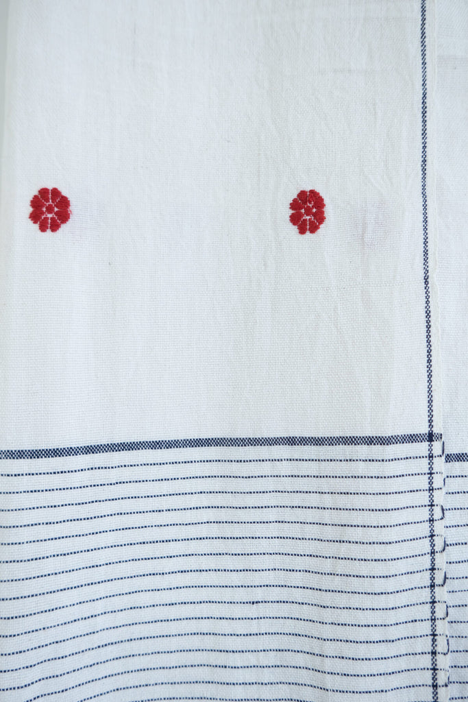 Handwoven Cotton Towel with Embroidery