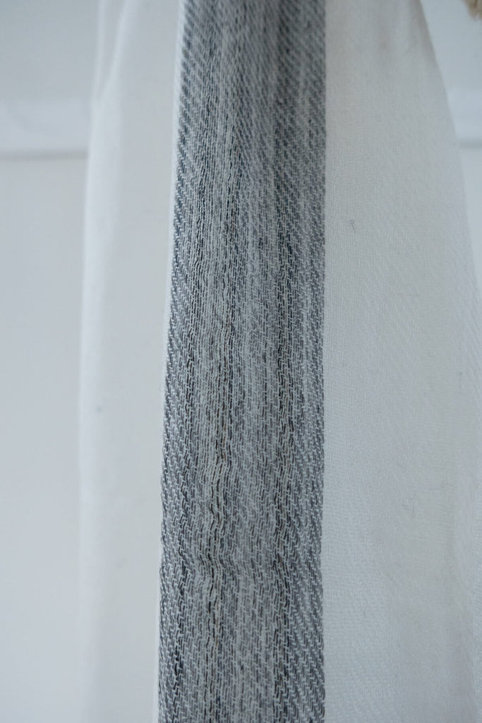 Wool Scarf in Grey and White