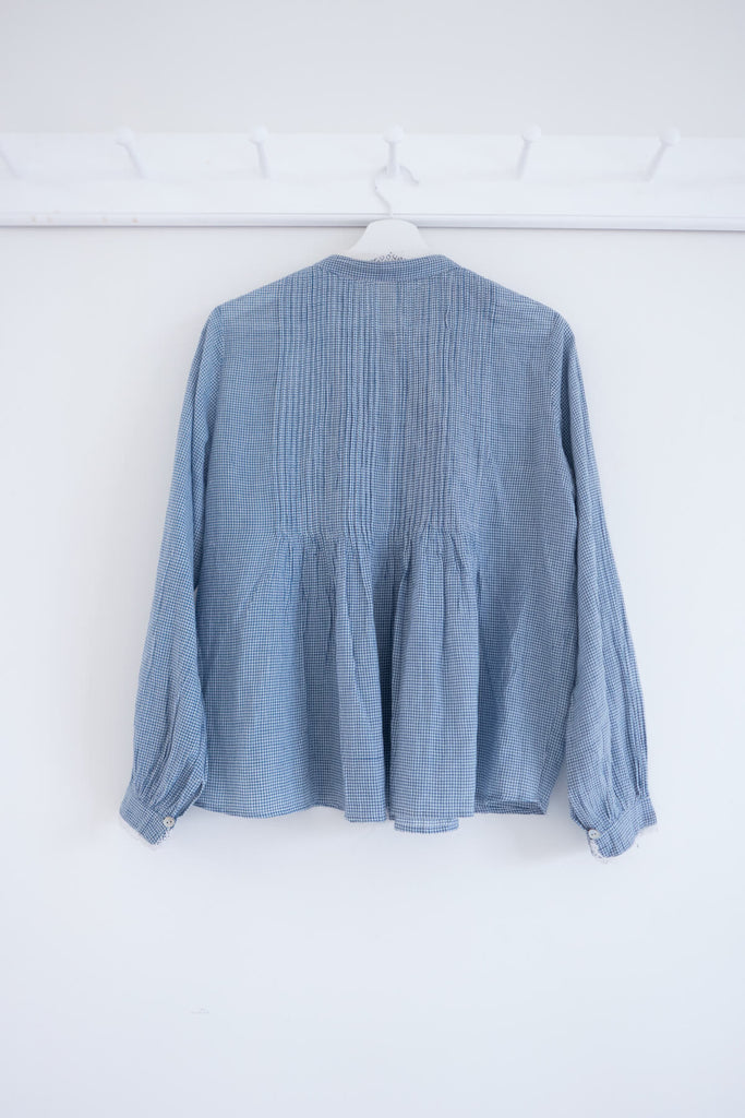 Hobbyist Blouse in Blue Khadi Cotton