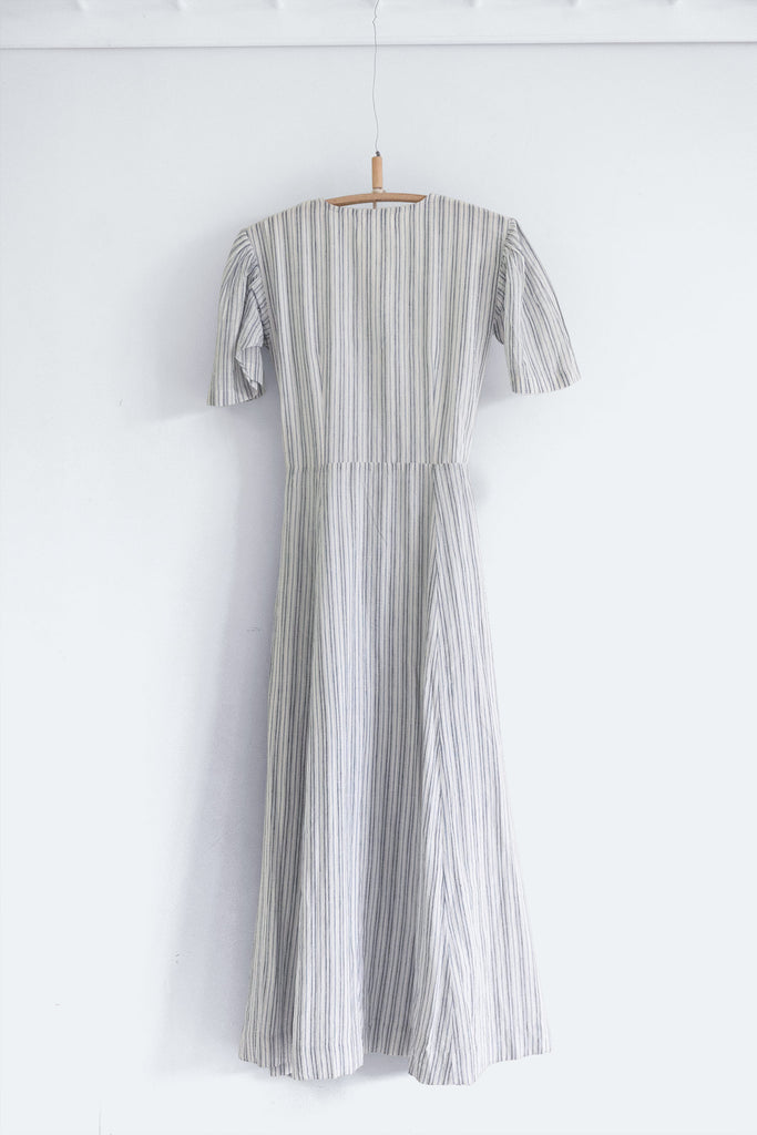 House Dress in Striped Khadi Cotton